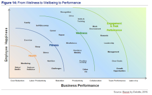 Figure 14 - From Wellness to Wellbeing to Performance - Sources by Bersin by Deloitte, 2016.